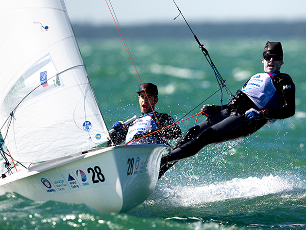 Jacob Saunders (left) and Oliver Bone compete for their spot at the Olympics in Spain in April. - WORLD SAILING