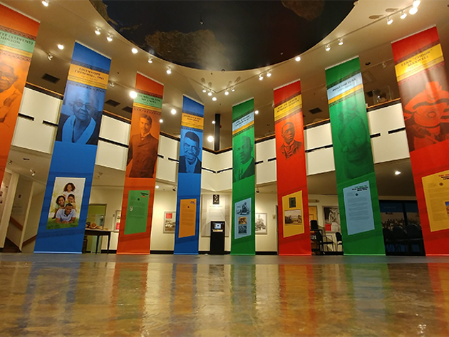 Two-storey tall banners in the Black Cultural Centre's atrium tell the stories of 16 Nova Scotians of African descent. - SUBMITTED