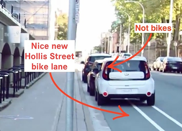 Hollis Street finally has its bike lane, and cars love parking on it.
