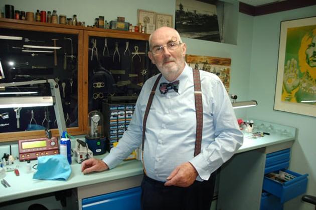 David Francis, AKA Doctor Clock, in his Bilby Street workshop.