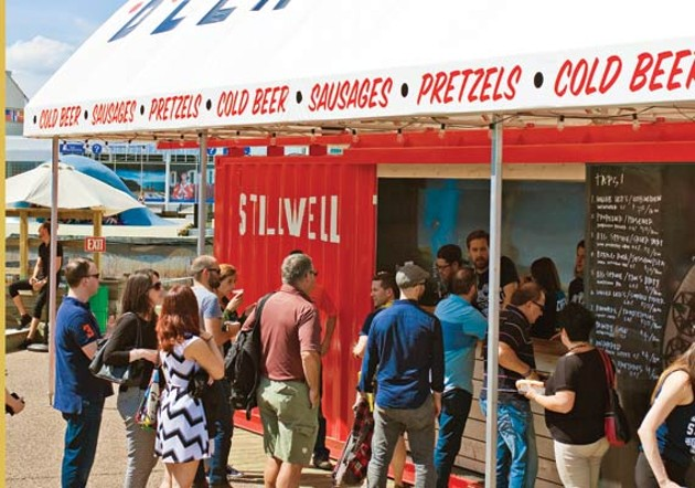A familar sight on the waterfront this year: lines for Stillwell's beer. - LENNY MULLINS