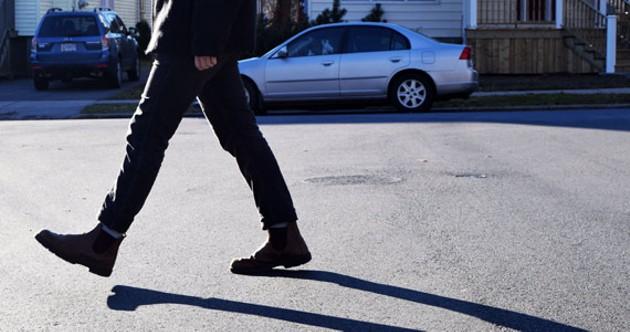 A jaywalking pedestrian hits the streets in Halifax. - EMMA JONES