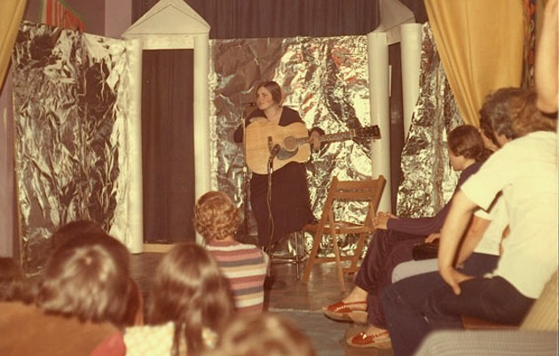 "Anne Fulton doing ""drag"" at David's club, before GAE ran the Turret. - JJ DEYOUNG"