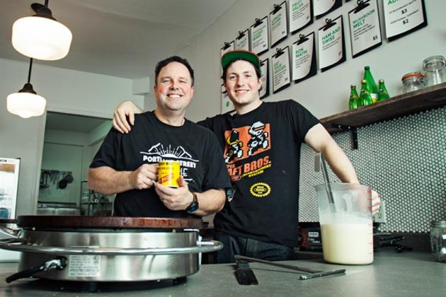Father-son team Neil and Max Cook, owners of Portland Street Creperie. - LENNY MULLINS