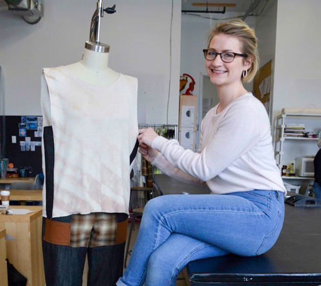 Leanne Hansen, the designer behind Tatamagouche Pines, in NSCAD's Fountain Campus fashion studios. - MARILYN SMULDERS