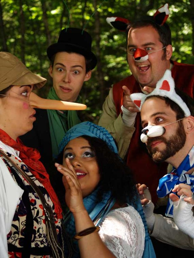 """Melissa MacGougan as """"Pinocchio"""", Peter Sarty as """"Jimmy The Cricket"""", Madeleine Tench as """"Stella Blumt"""", Tom Gordon Smith as """"The Fox"""", and Dan Bray as """"The Cat"""". - JESSE MACLEAN."""