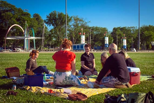 Art and food lovers gather on the Common for an Eyelevel picnic last week. - LENNY MULLINS