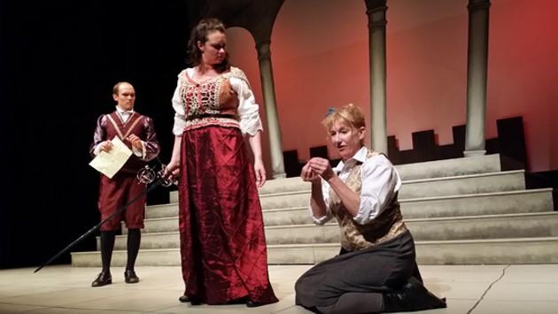 James MacLean, Emma Slipp and Jackie Torrens in Goodnight Desdemona (Good Morning Juliet). - RENA KOSSATZ