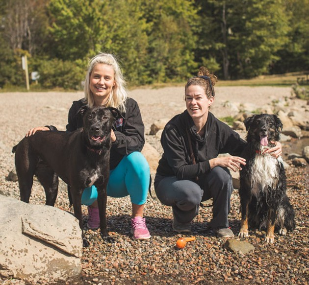 """Loca and Jane, with Harley and Chelsea, at Shubie Park are all ready for a ball game. """"Harley will do anything for a ball."""" - DYLAN CHEW"""