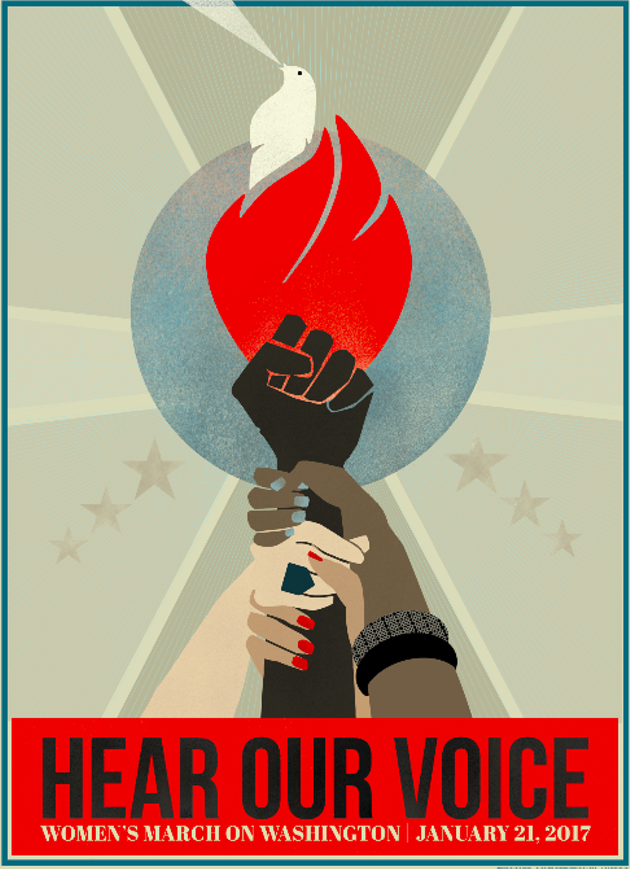 """Hear our voice,"" a poster for Saturday's event designed by Liza Donovan. - LIZA DONOVAN"