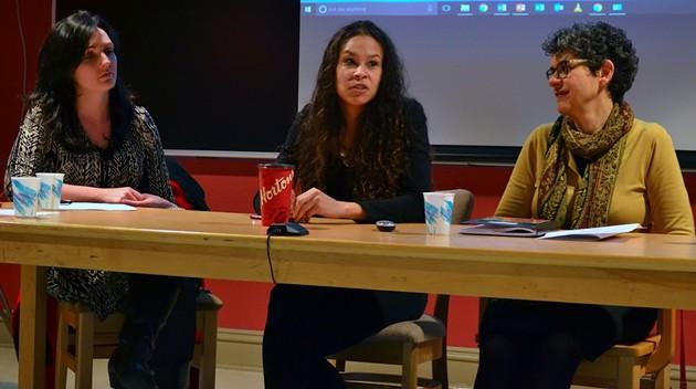 The panelists at Talk Justice, (l-r) Naiomi Metallic, El Jones and Nabiha Atallah. - THE COAST