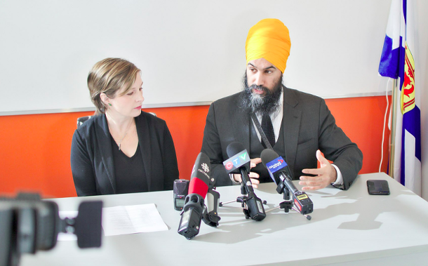 Dartmouth North MLA Susan Leblanc, centre left, talks housing along with Jagmeet Singh (centre right) earlier this week in Halifax. - VIA NDP