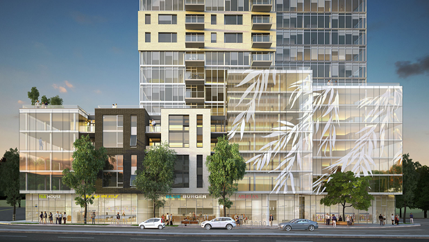 A rendering of the proposed development's podium, facing Quinpool Road. - FARES GROUP