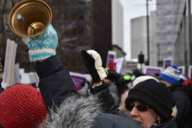 Bells ringing, fists raised, last year at province house. Expect a similar sound on Tuesday. - THE COAST