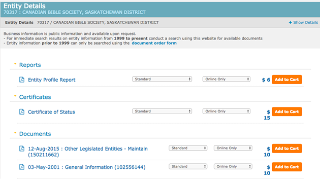 Canadian Bible Society is a very Saskatchewan company. - SCREENSHOT