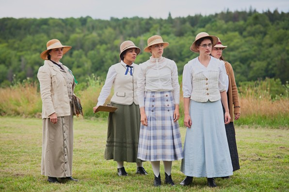Burgandy Code, Riel Reddick Stevens, Jamie Konchak, Victoria Houser and Stephanie MacDonald in last summer's Nothing Less!, from Two Planks and a Passion. - CLAIRE MILTON