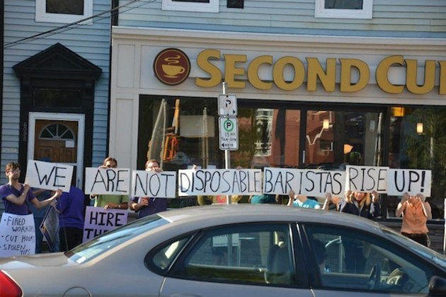 Coffee shop workers rally for a union back in 2013, outside the former Second Cup on Quinpool Road. - HILARY BEAUMONT