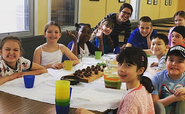 Gallant and a brood of her students, who made a batch of energy bites and a green smoothie - SUBMITTED