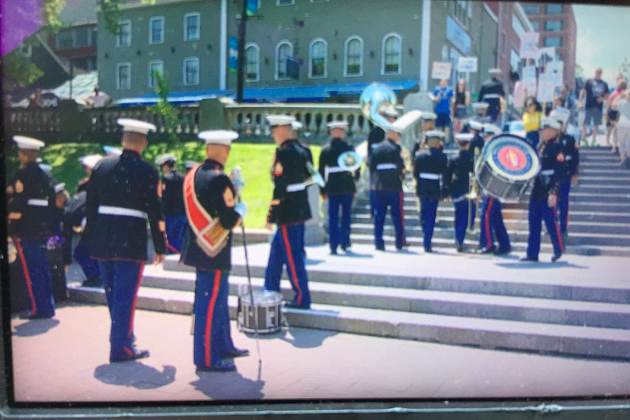 """U-S Marines Band walking away after protesters shout them down at Grande Parade,"" reads Ron Shaw's tweet. ""Never played their outdoor concert here."" - VIA TWITTER"
