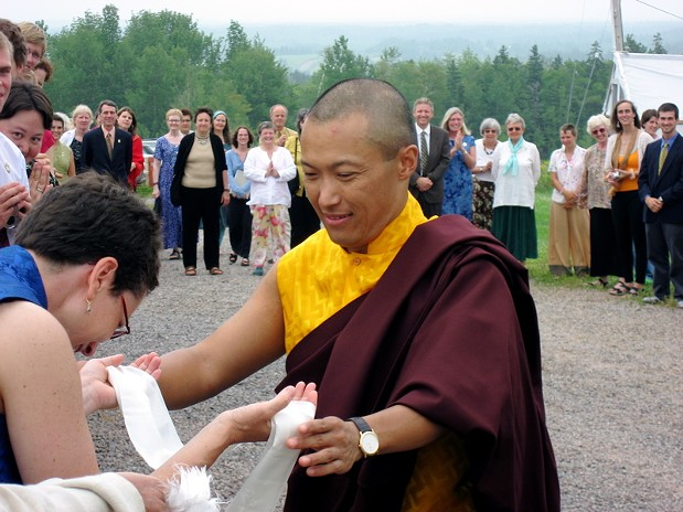Osel Mukpo greeting Patricia Ullman at Dorje Denma Ling in Tatamagouche, circa 2007. - PATRICIA ULLMAN