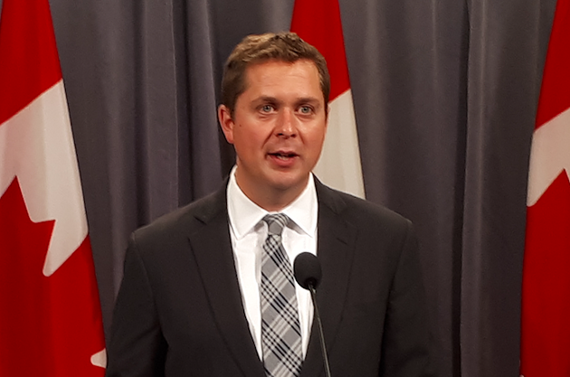 Conservative Party leader Andrew Sheer speaks to reporters on Thursday about Bernier's exit. - MATT STICKLAND