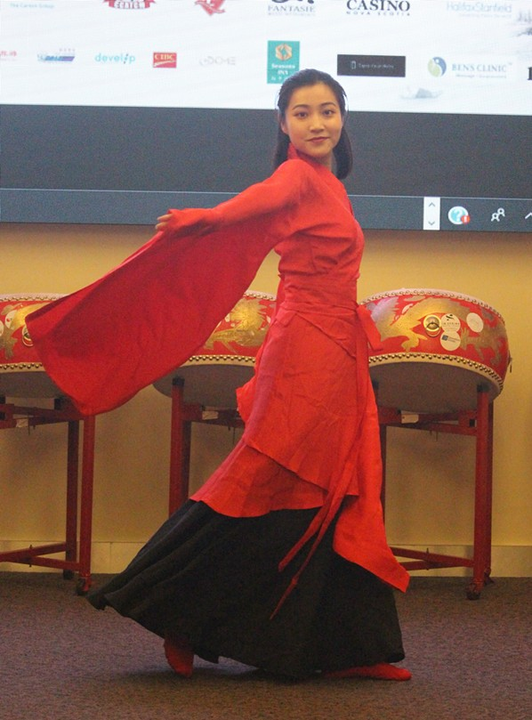 "Yilu Zheng, of the Chinese Culture and Art Club of Nova Scotia, performs the classical Chinese dance ""The Nation of Greatness and Courtesy."" - JAMES LATTER"
