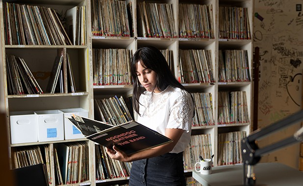 Looking through CKDU's extensive record collection. - IAN SELIG