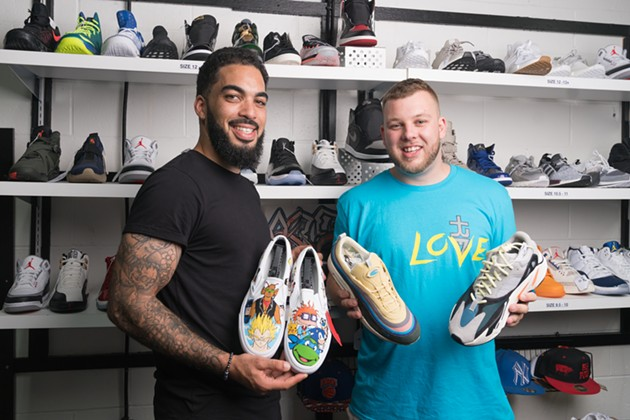 John Connor and Tyrone Goodwin are pumped on kicks - IAN SELIG
