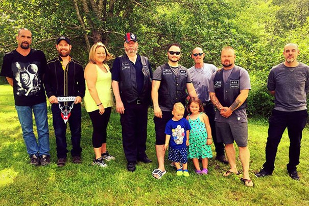 Soldiers of Odin members in Nova Scotia gathering with family for a photo. - VIA FACEBOOK