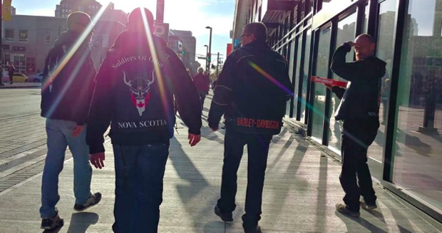 "Members of the now-defunct Soldiers of Odin NS on ""patrol."" - VIA FACEBOOK"
