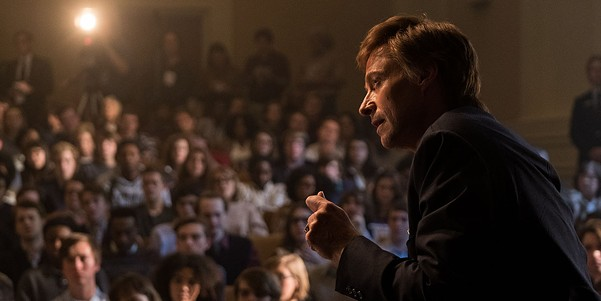 Jackman, passionate in front of—and away from—the microphone in The Front Runner.