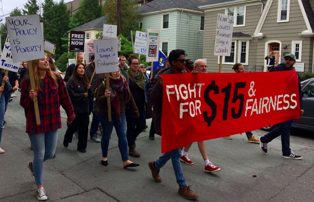 Protesters calling for a $15/hour minimum wage take to the streets back in October. - VIA GARY BURRILL ON TWITTER