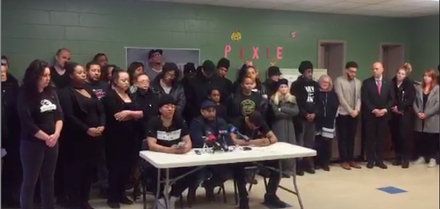 Kate Macdonald, Marcus James and Trayvone Clayton at the press conference at the George Dixon Community Centre. - THE OBJECTIVE NEWS AGENCY VIA TWITTER @THEOBJECTIVENS