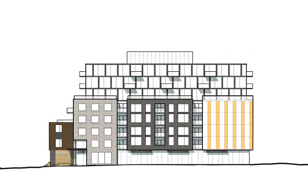 The five storey street wall on Robie Street will have commercial space on the ground floor and residential units above. The three stories and penthouse above will be slightly set back from the road. - WM FARES ARCHITECTS