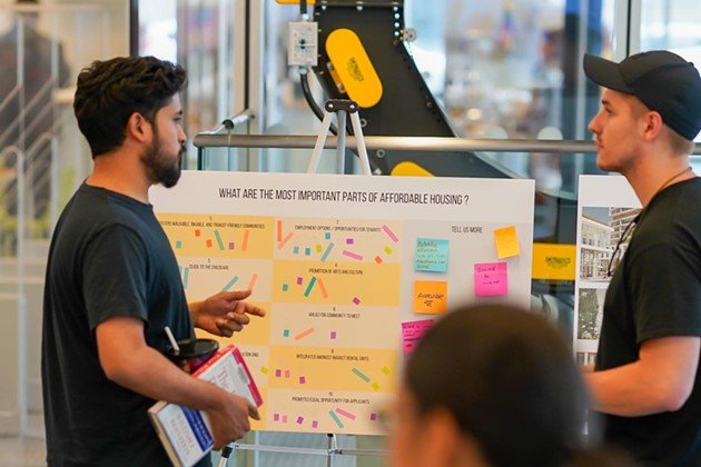 """Participants are asked """"What are the most important parts of affordable housing,"""" at the Halifax Central Library. - HFX COLLECTIVE"""