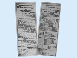 Other than the bulletin boards at the law courts, small newspaper ads are one of the only ways news about the forclosure auctions is shared.