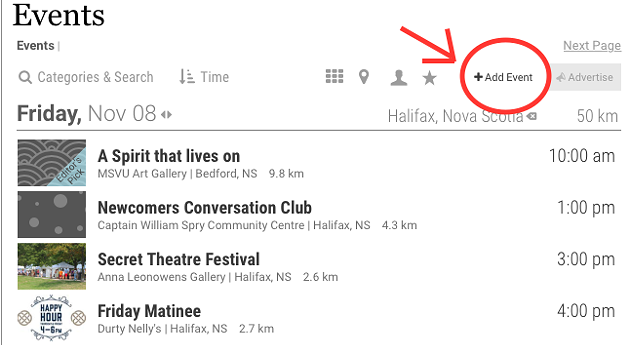 This is what the new listing submissions button looks like! Click it to get the word out on your awesome thing.