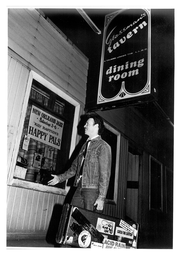 Morgan Davis in a snapshot from the early 1980s, preparing to perform at Toronto's legendary Grossman's Tavern—one of the city's longest-running live-music venues, which opened in 1943 and fostered the careers of acts from Jeff Healey to - Alannah Myles to the Downchild Blues Band. - SUBMITTED