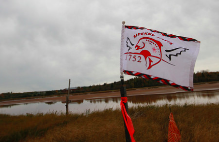 The Sipekne'katik flag waved at the proposed brine storage site when regulatory approvals for Alton Gas were announced in 2016. - VIA THE COUNCIL OF CANADIANS
