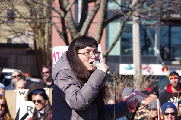 """""""We know that the future is Indigenous sovereignty, is environmental justice,"""" said Sakura Saunders. - MIRA DIETZ CHIASSON"""