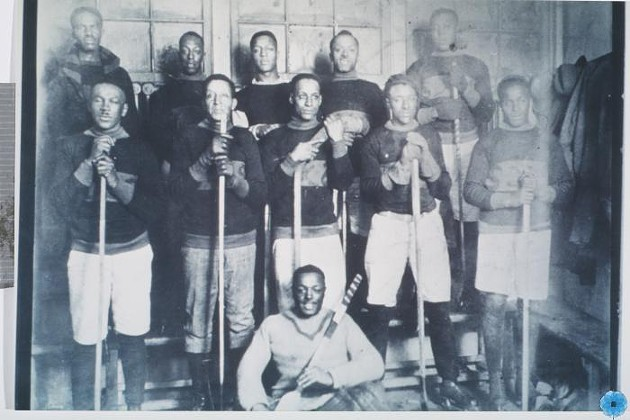 A 1921 photograph of Coloured Hockey League team The Africville Sea-Sides—a rare piece of history of the longstanding legacy of Black hockey players in Canada. - ARCHIVAL PHOTO VIA NOVAMUSE.CA