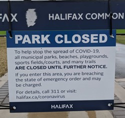 Sign posted in the Halifax Common after April 10 - CAORA MCKENNA