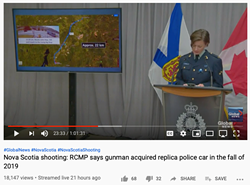 RCMP corporal Jennifer Clarke on Global's webcast. - VIA YOUTUBE