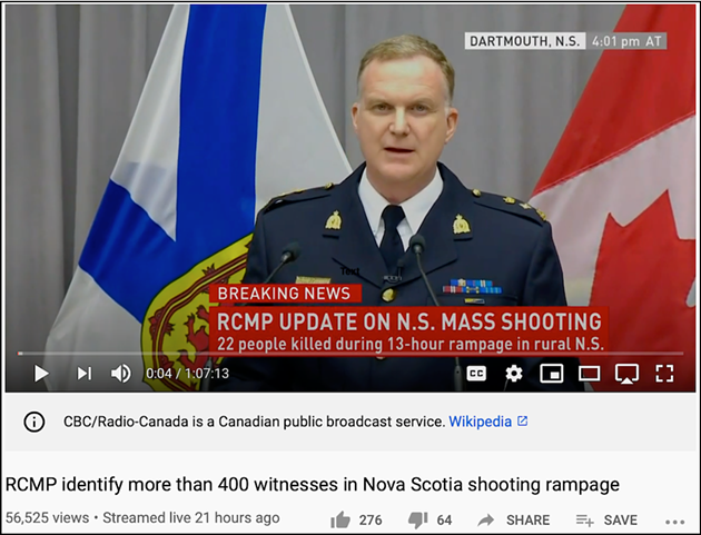 RCMP superintendent Darren Campbell on the CBC webcast of Tuesday's press conference. - VIA YOUTUBE