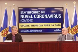 Premier McNeil and doctor Strang don't think the May 1 moving day is much of a thing. - COMMUNICATIONS NOVA SCOTIA