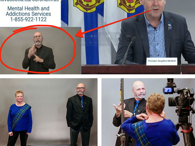 COVID-19 briefing ASL interpreters Debbie Johnson-Powell and Richard Martell (in tartan from the @nsgov Facebook page, Martell during webcast on Interpreter Appreciation Day from YouTube).