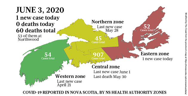 Map of COVID-19 cases in Nova Scotia as of June 3, 2020.
