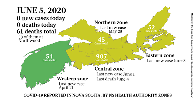 Map of COVID-19 cases in Nova Scotia as of June 5, 2020.