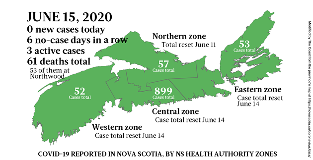 Map of COVID-19 cases in Nova Scotia as of June 15, 2020. - THE COAST