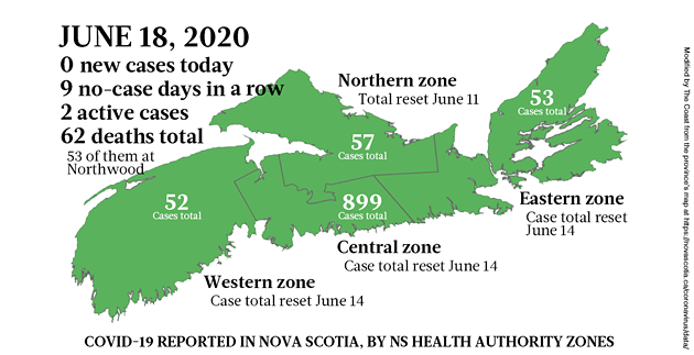 Map of COVID-19 cases in Nova Scotia as of June 18, 2020. - THE COAST